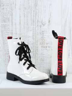 Patent Faux Leather Lace Up Combat Boots