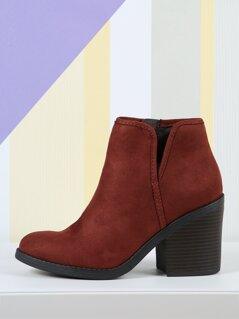 Faux Suede Heeled Booties