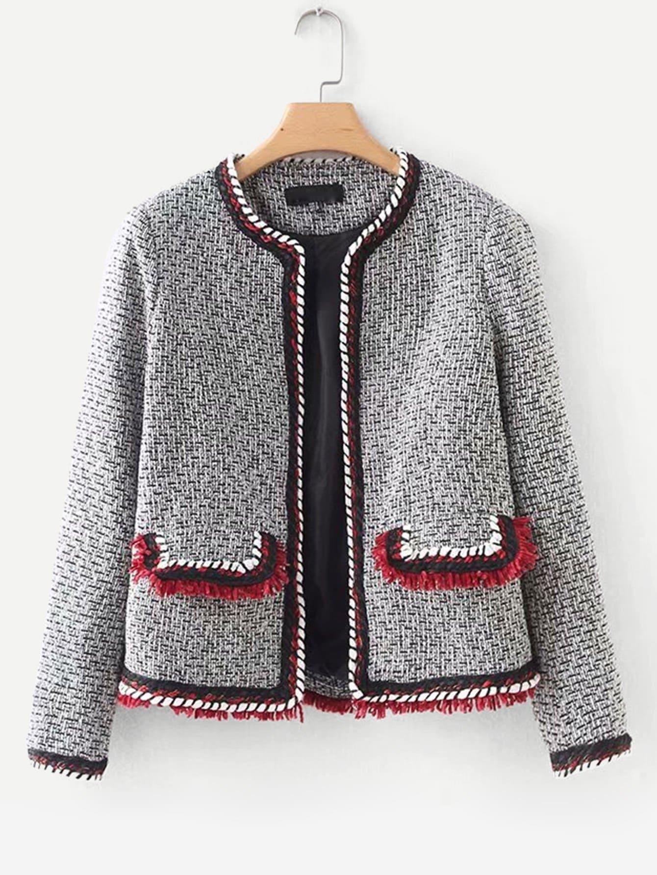 Купить Пальто из твида и со симметрическими кружевными оборками, null, SheIn