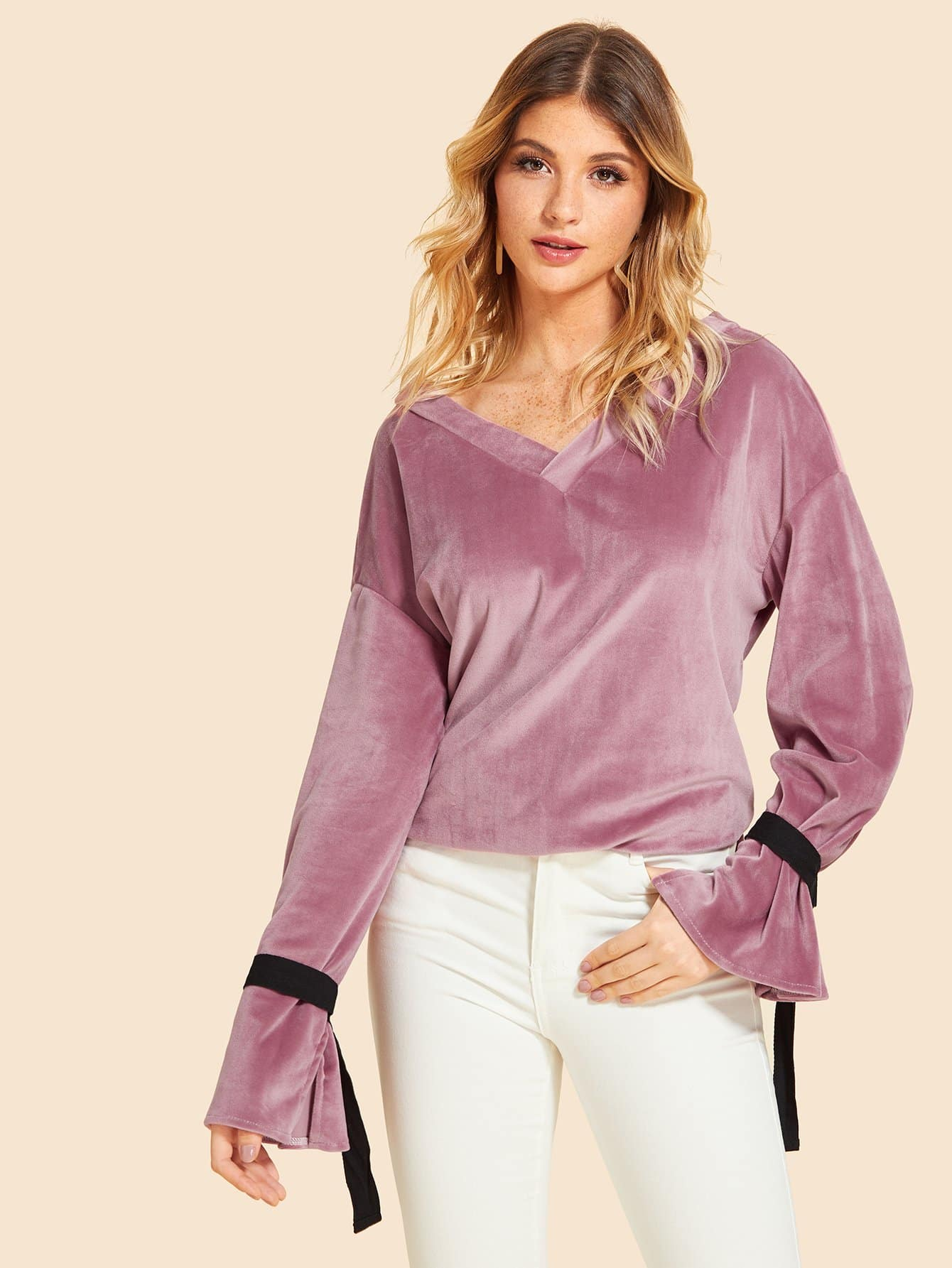 Bell Sleeve Drop Shoulder Velvet Blouse
