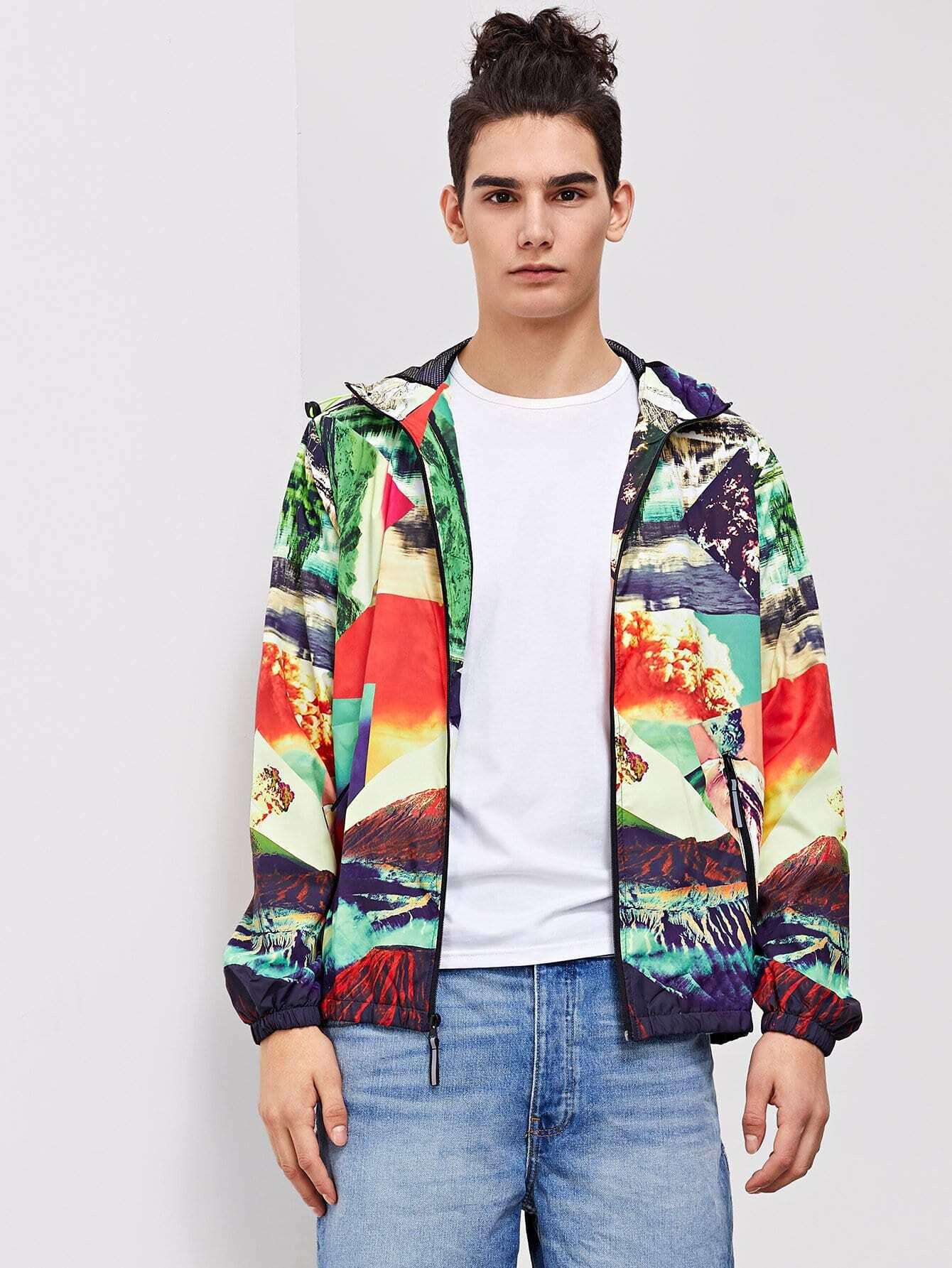Men Random Print Hooded Jacket