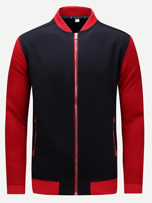 Men Color Block Zipper Detail Jacket