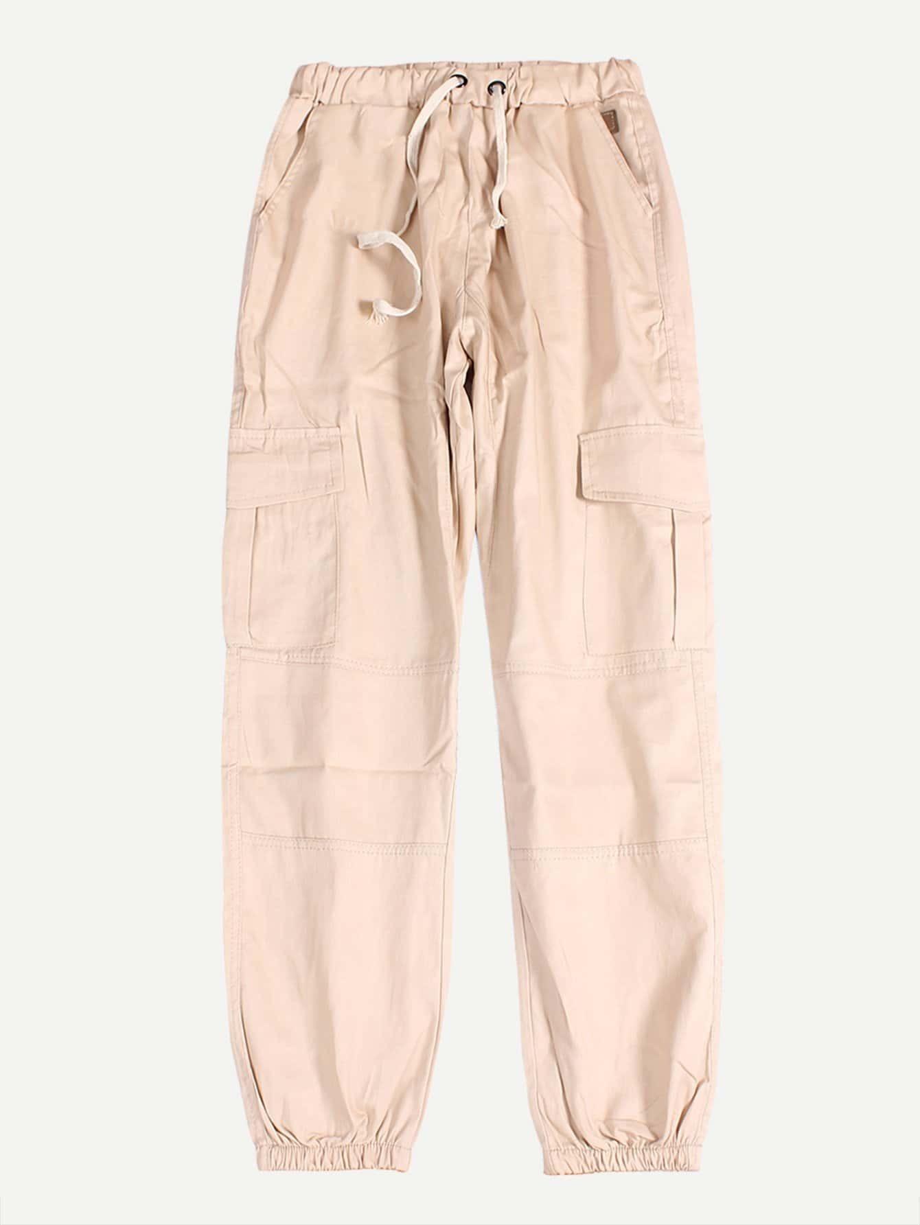 Купить Мужские брюки с басоном эластичным и карманами, null, SheIn
