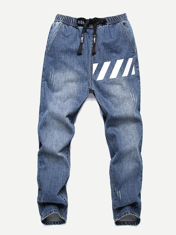 Men Letter Tape Ripped Jeans