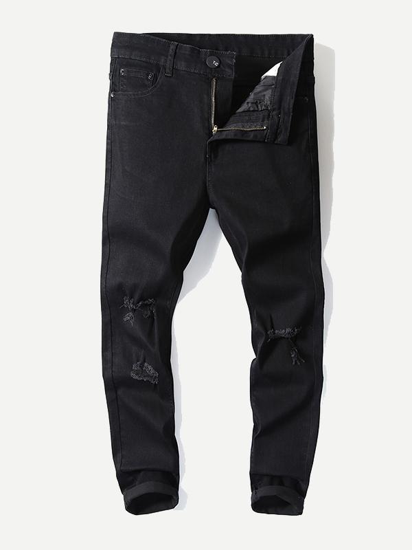Les Hommes Déchiré Solide Jeans