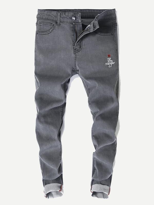 Les Hommes Détail De Broderie Jeans