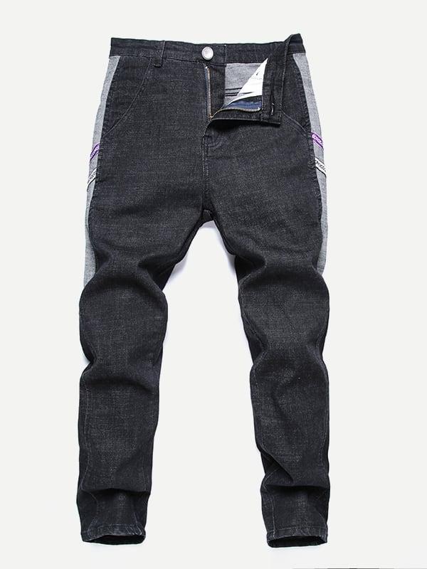 Men Contrast Tape Side Jeans