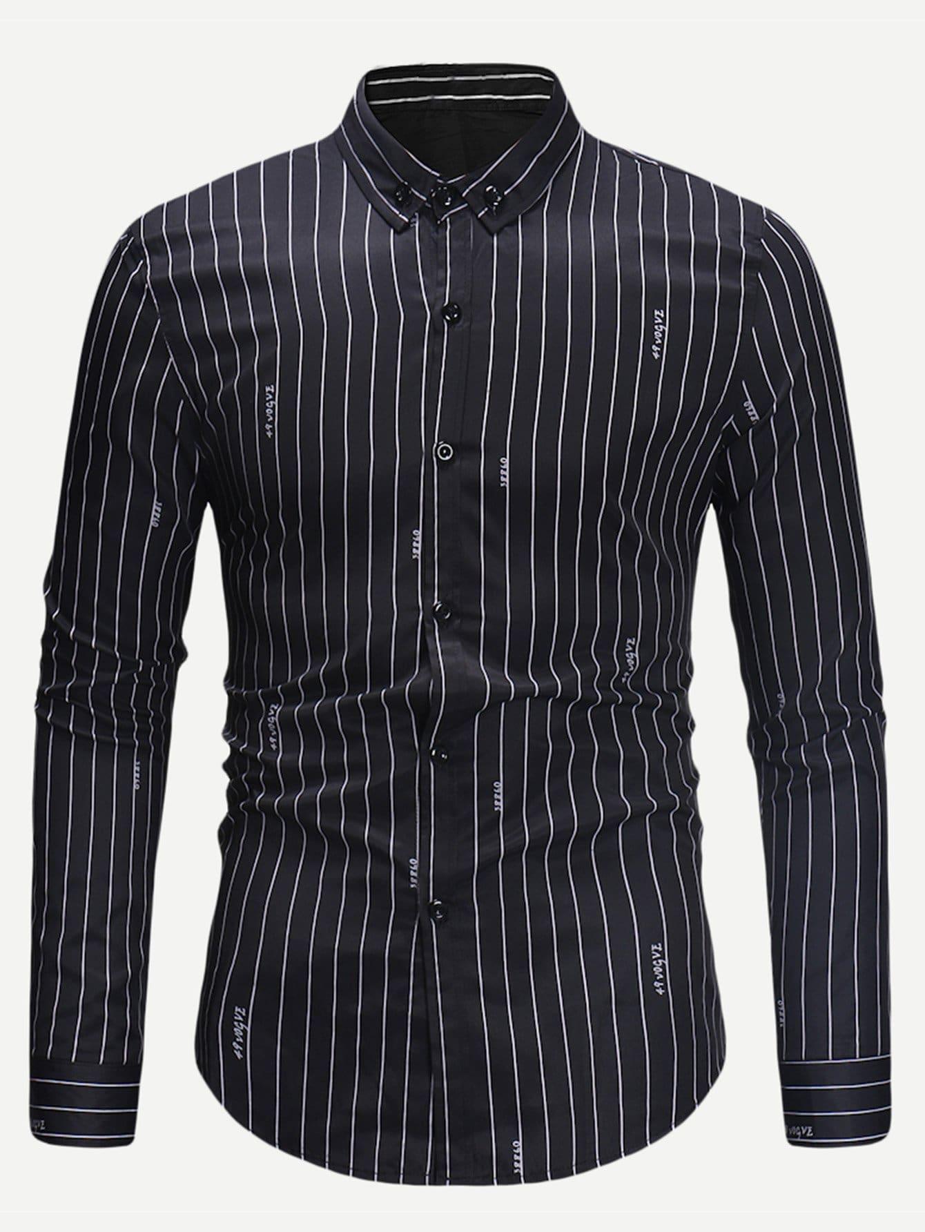 Купить Мужская полосатая футболка с принтом букв, null, SheIn