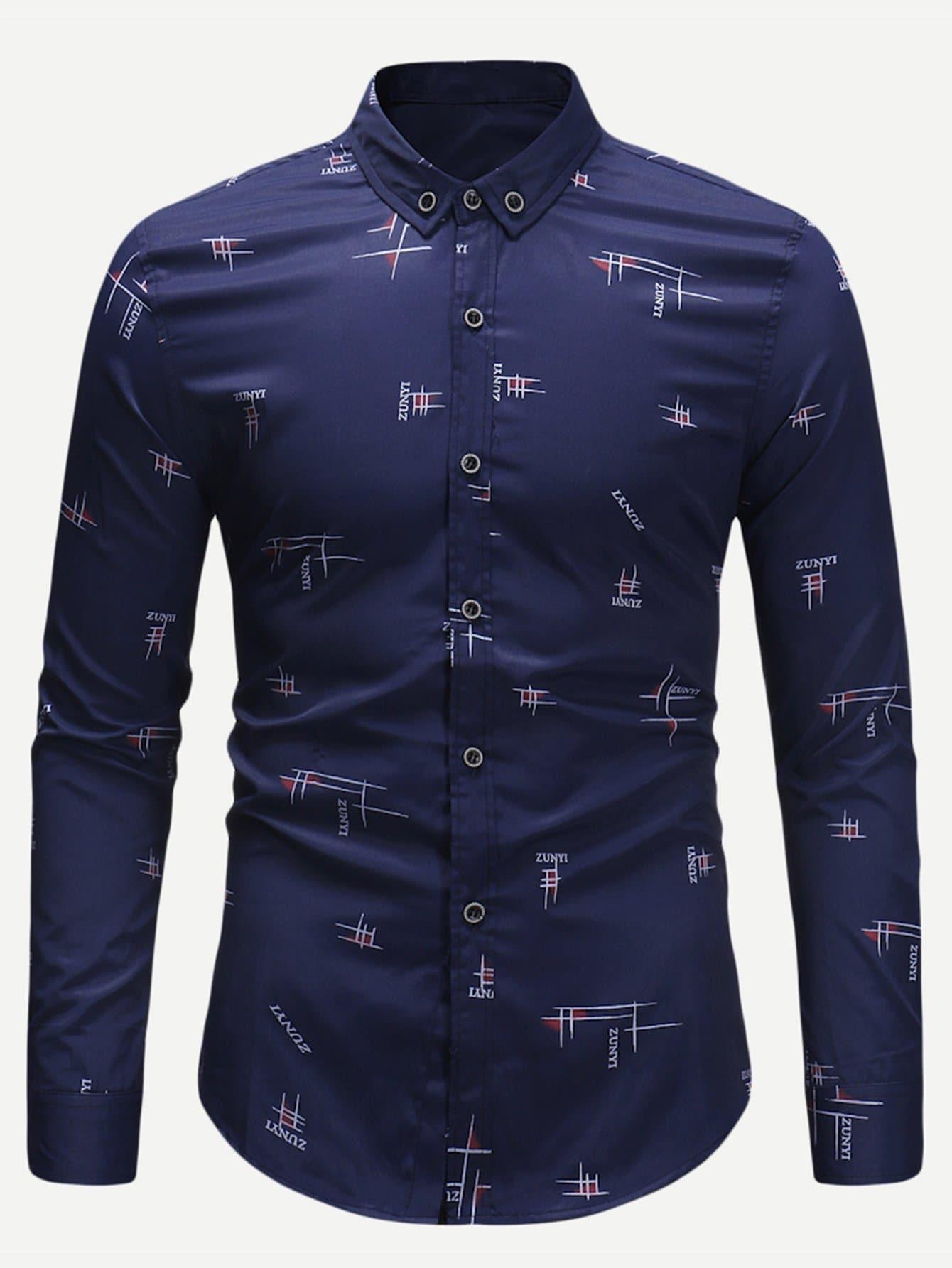 Купить Мужская футболка с принтом букв и геометрических фигур, null, SheIn