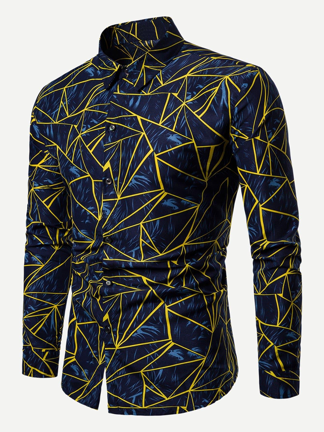 Купить Мужская футболка с принтом геометрических фигур, null, SheIn