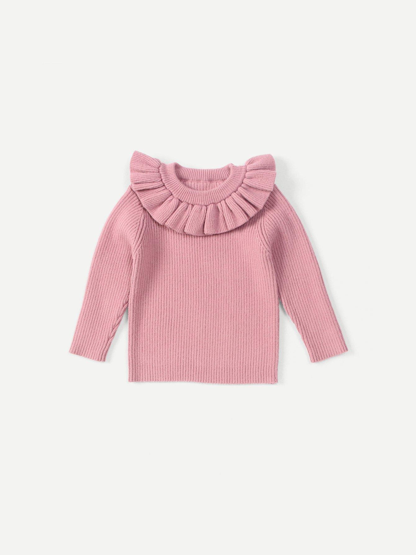 Girls Rib Knit Trim Ruffle Sweater
