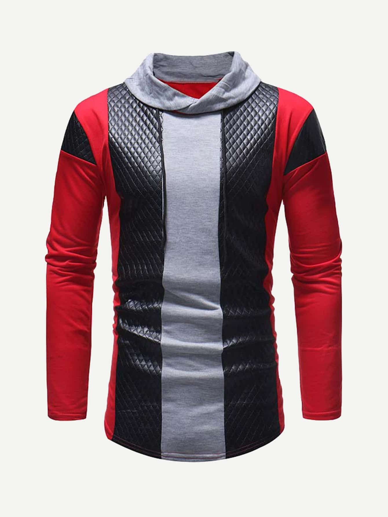 Men Contrast Faux Leather Color Block Tee