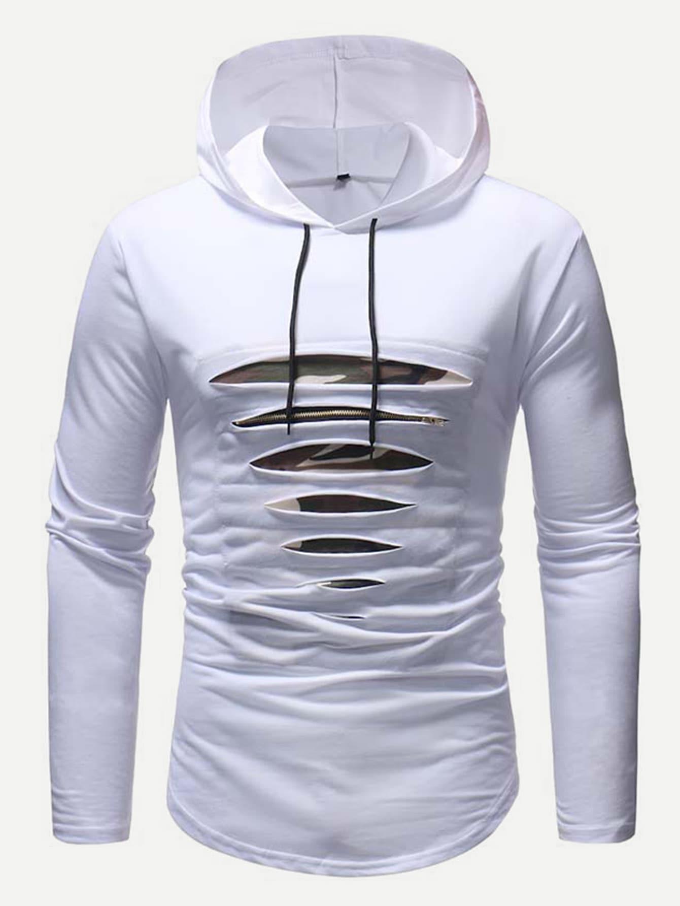 Купить Мужская рваная футболка с капюшоном, null, SheIn