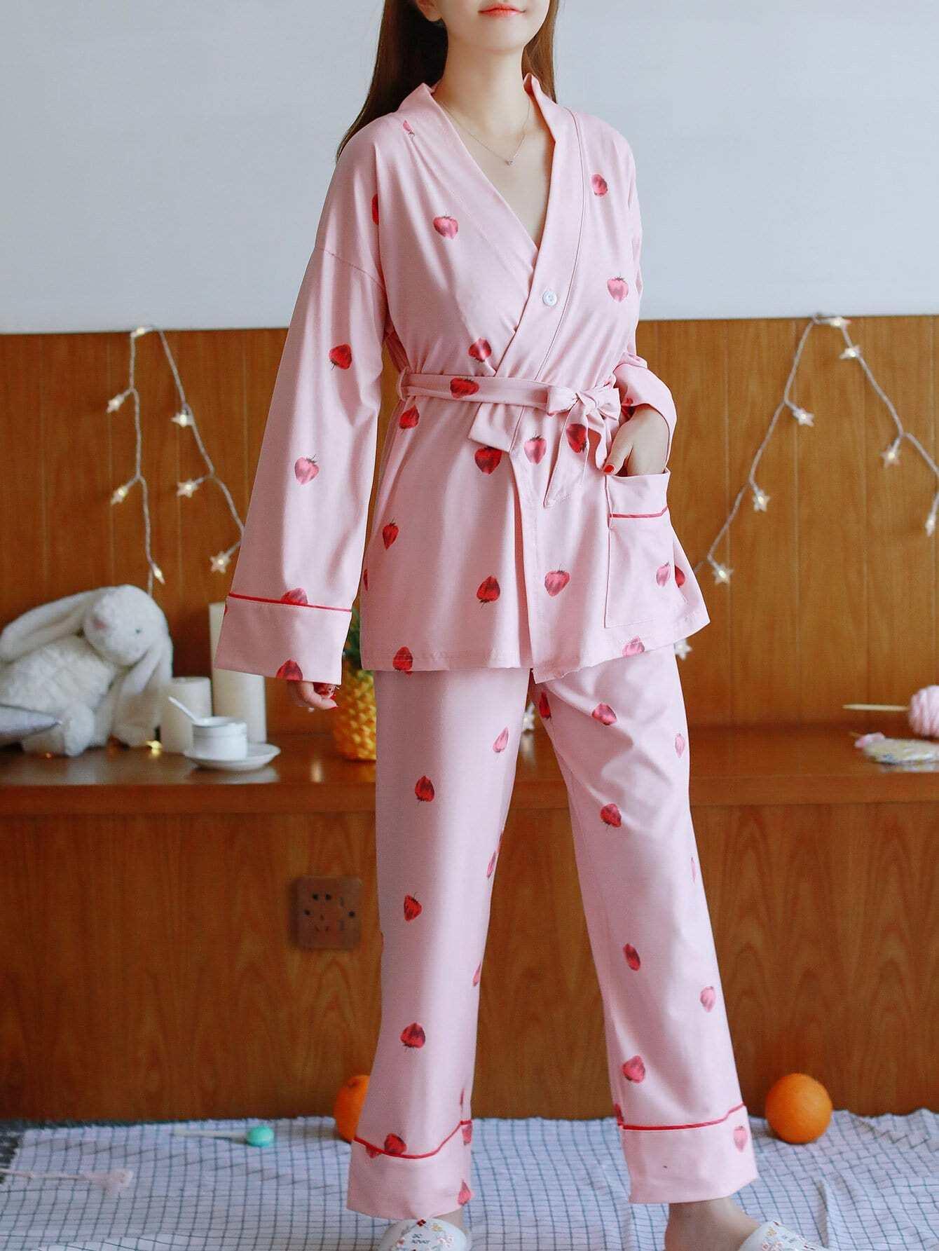 Fraise Imprimer Écharpe De Pyjama Set Avec Masque Pour Les Yeux