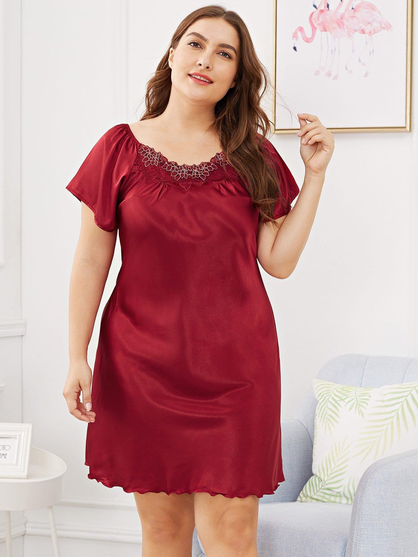 Plus Contrast  Floral Lace Night Dress