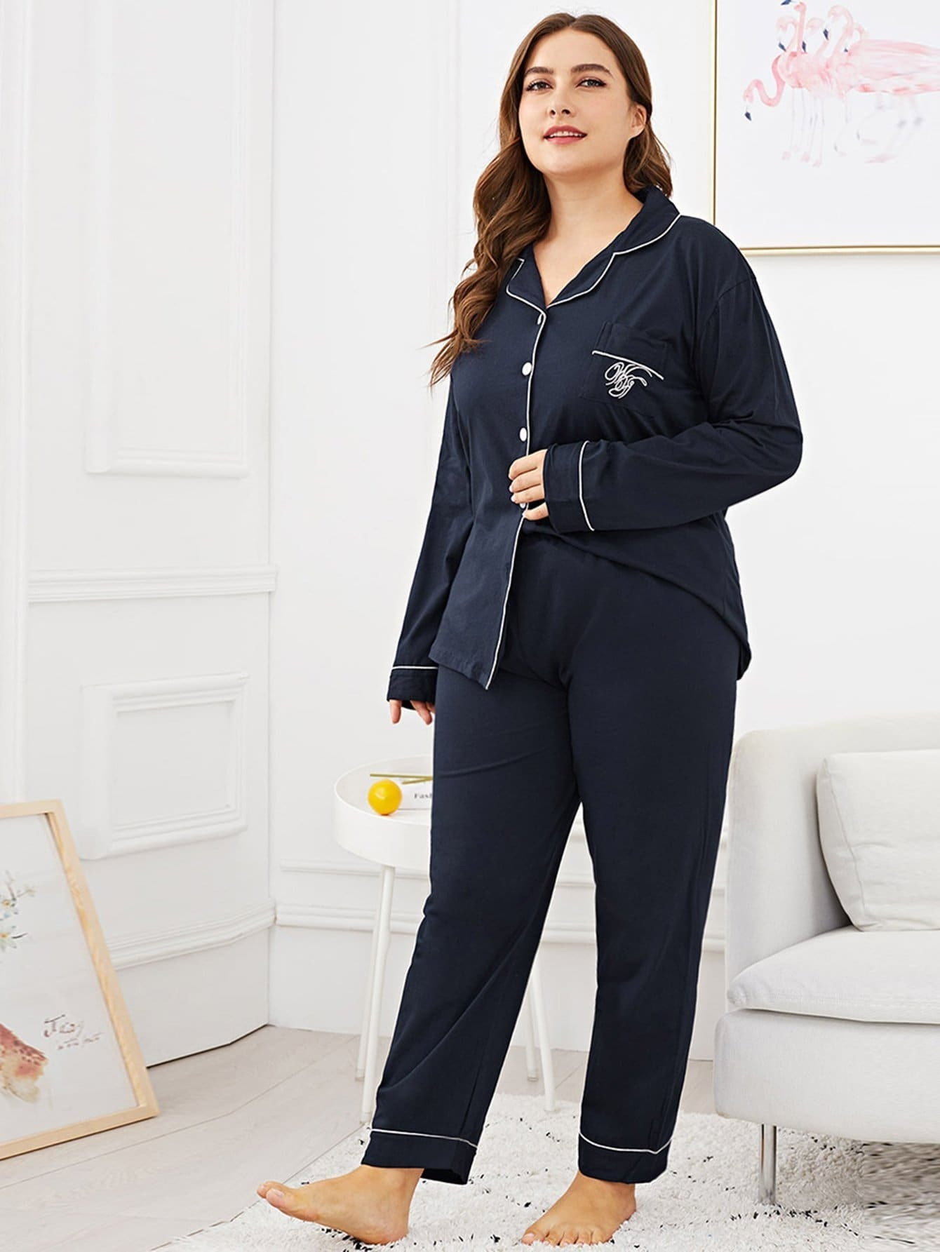 Plus Letter Embroidered Pocket Front Pajama Set