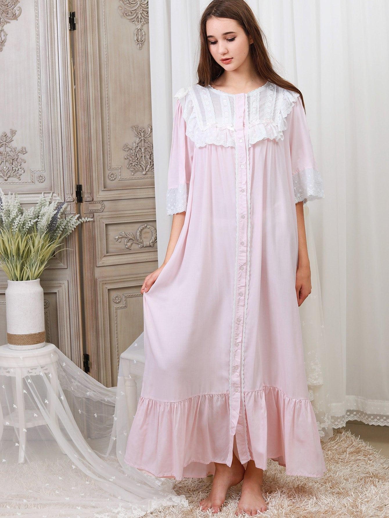 Contrast Lace Ruffle Hem Night Dress