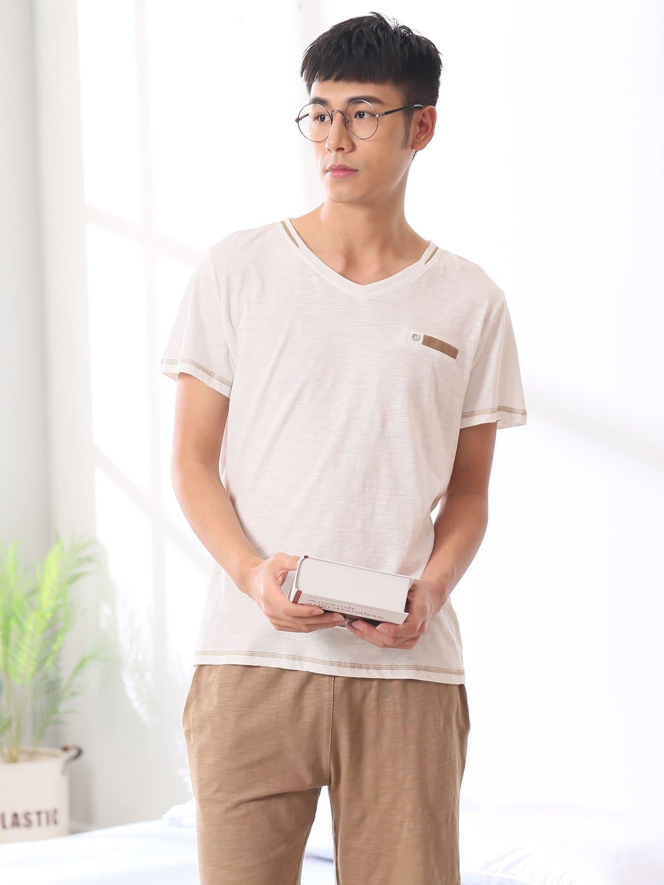 Men Contrast Side Colorblock Pajama Set