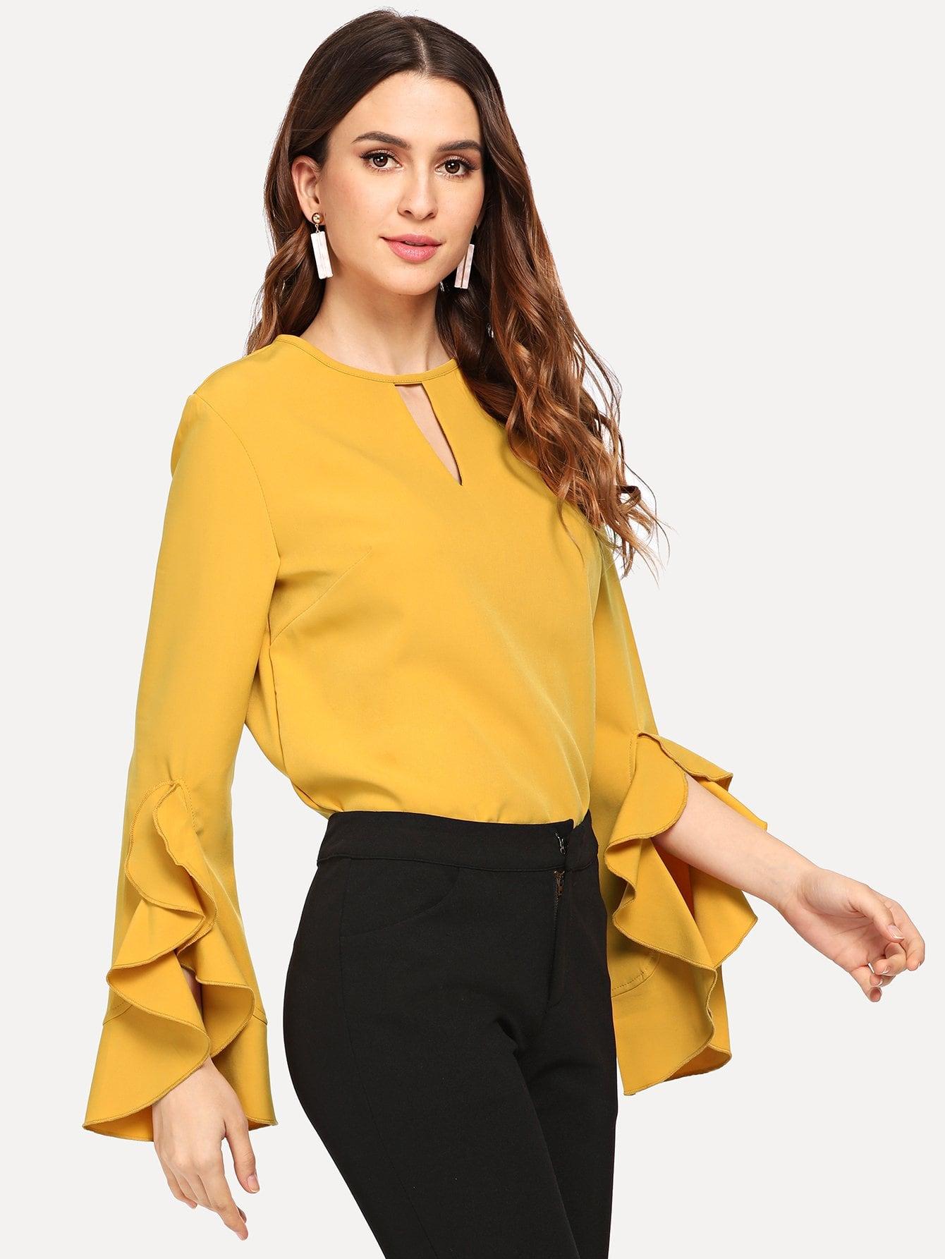 Купить Простая блуза с замочной скважиной назад, Jana, SheIn