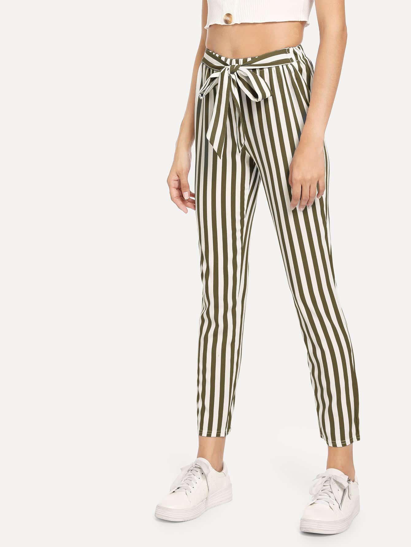 Купить Полосатые брюки с бантом, Gabi B, SheIn