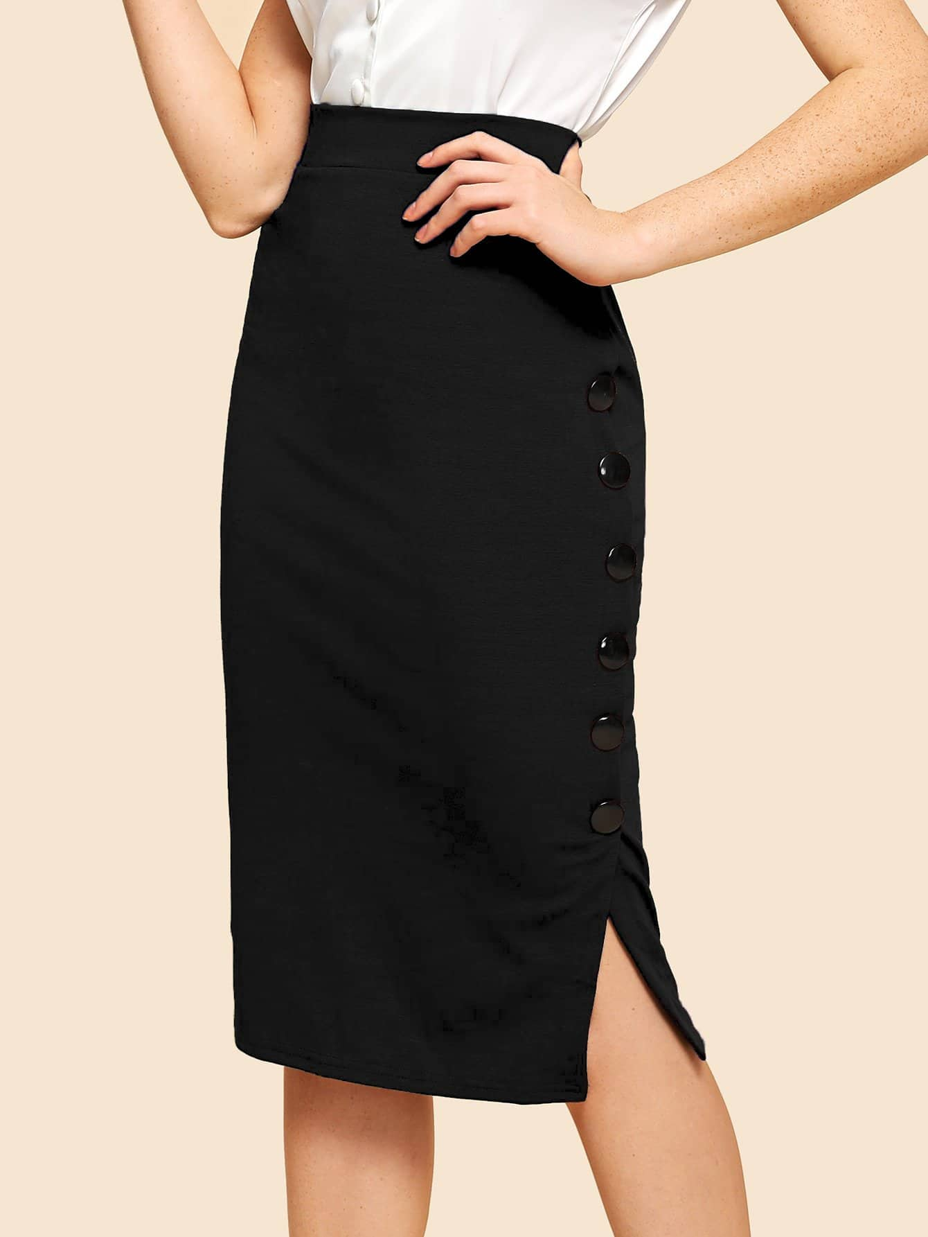 Купить Простая юбка с вырезом и украшением пуговицы, Nathane, SheIn