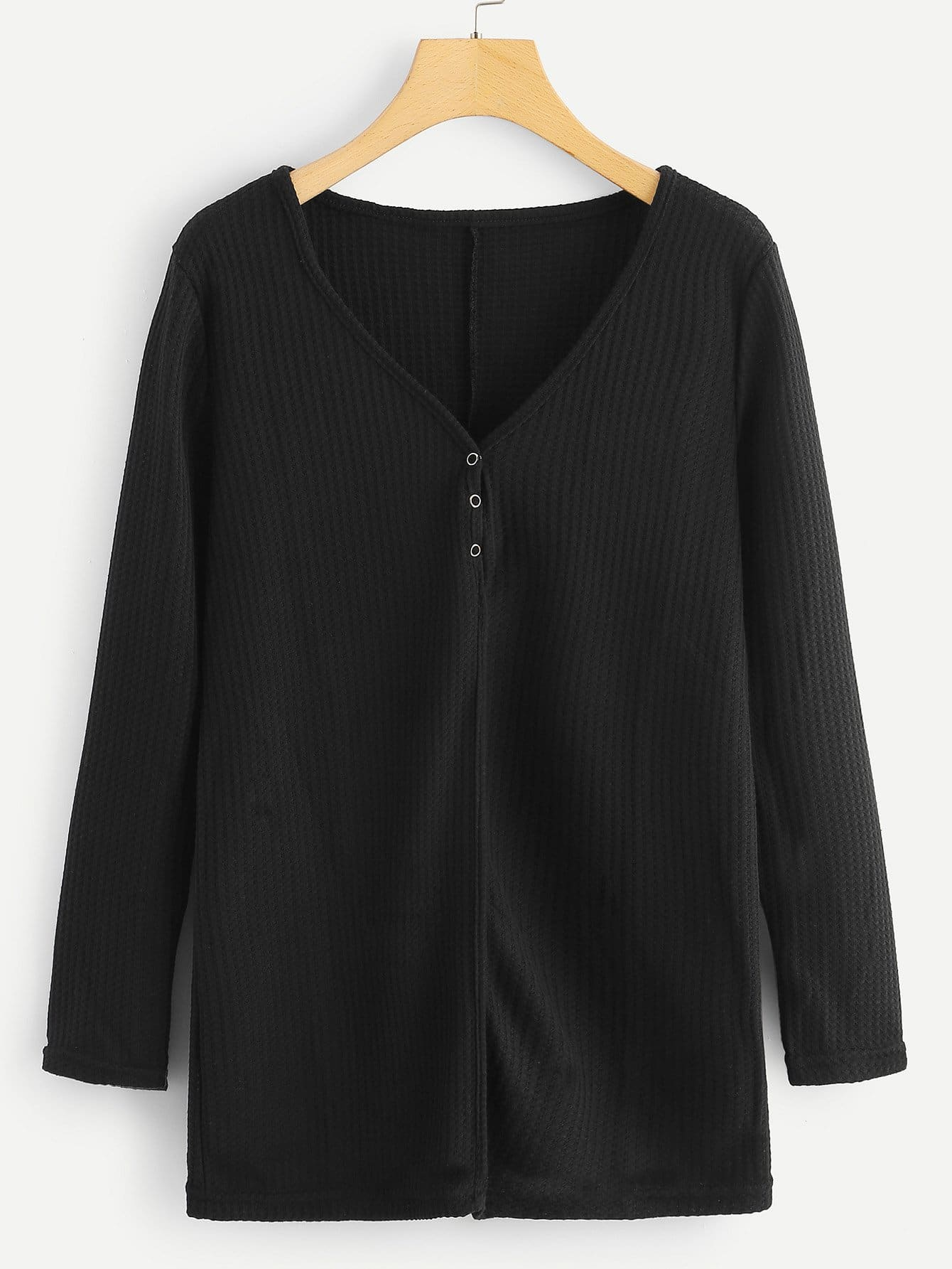 Купить Простая футболка с украшением пуговицы, null, SheIn