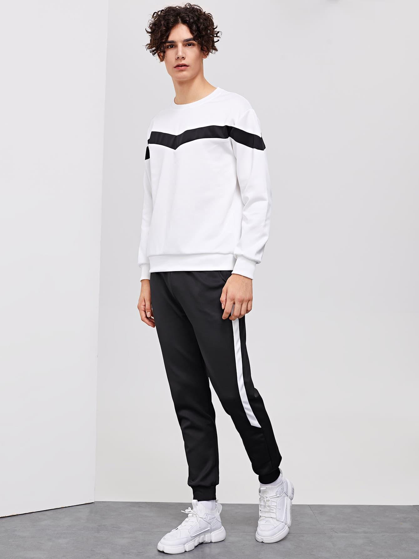 Контрастный свитшот и брюки для мужчин от SheIn