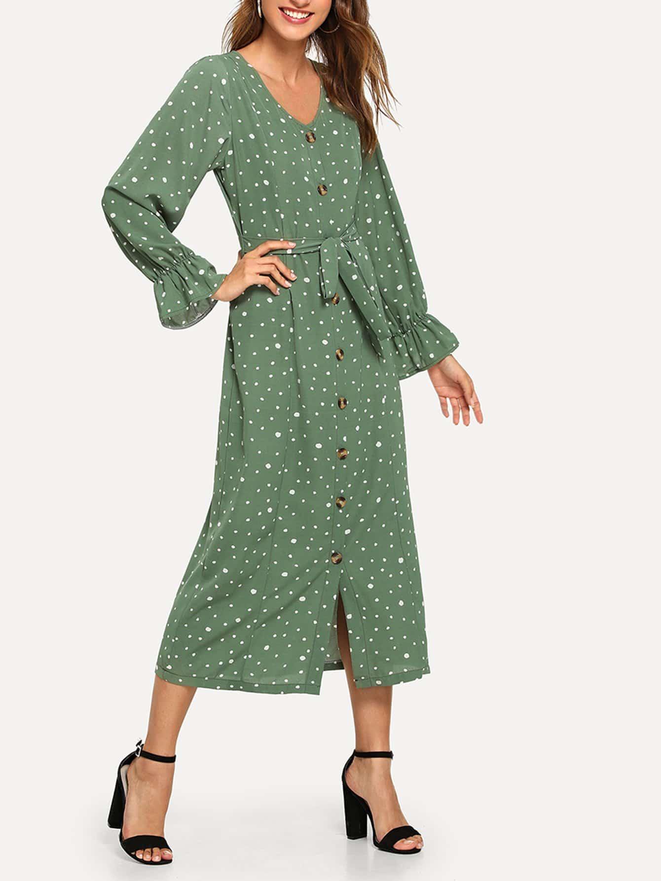 Купить Однобортное платье в крапинку спереди бант, Gabi B, SheIn