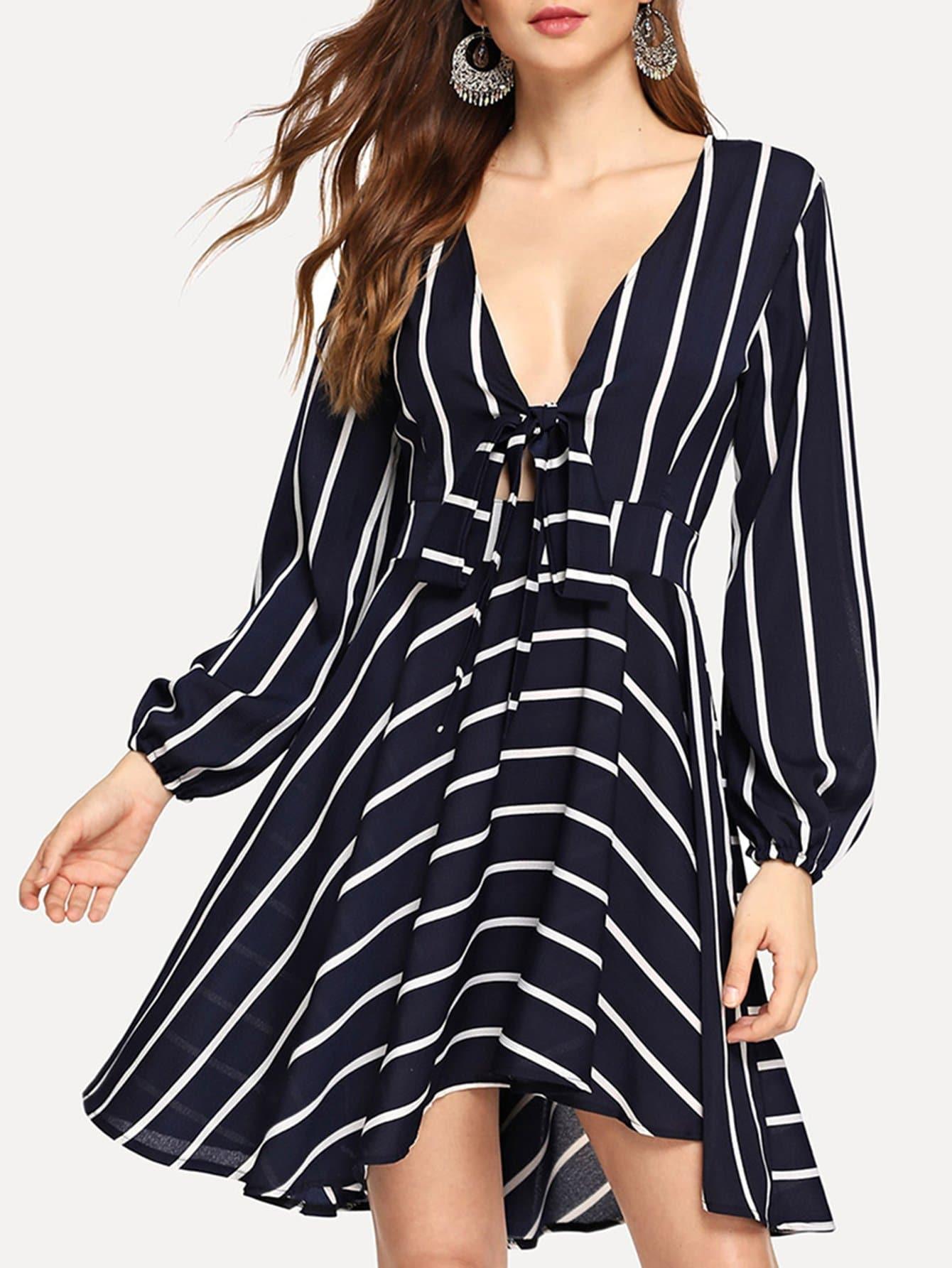 Купить Платье в полоску с глубоким вырезом спереди бант, Jana, SheIn