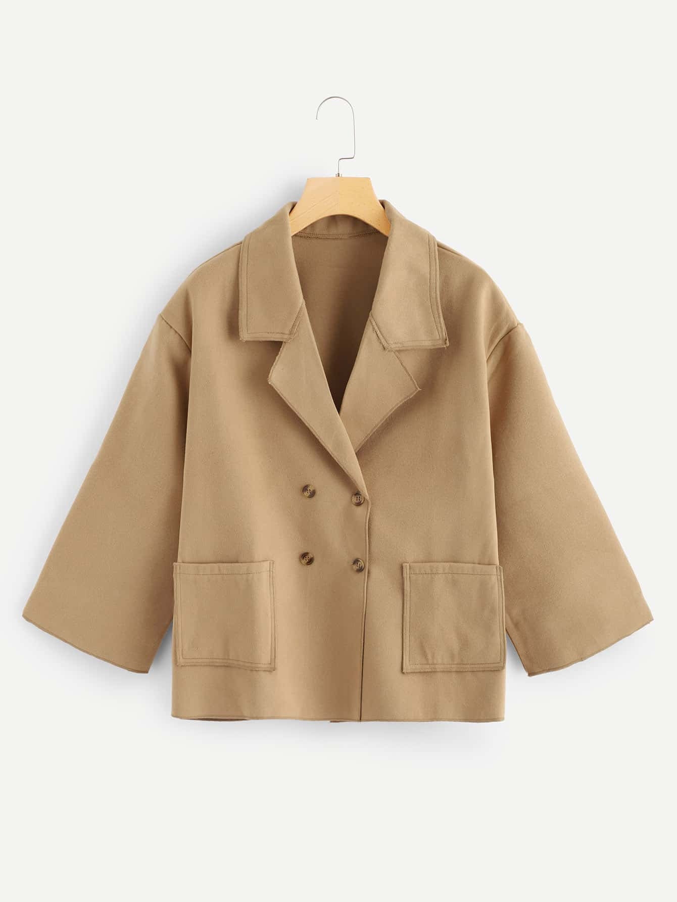 Plus Double Breasted Shawl Collar Outerwear