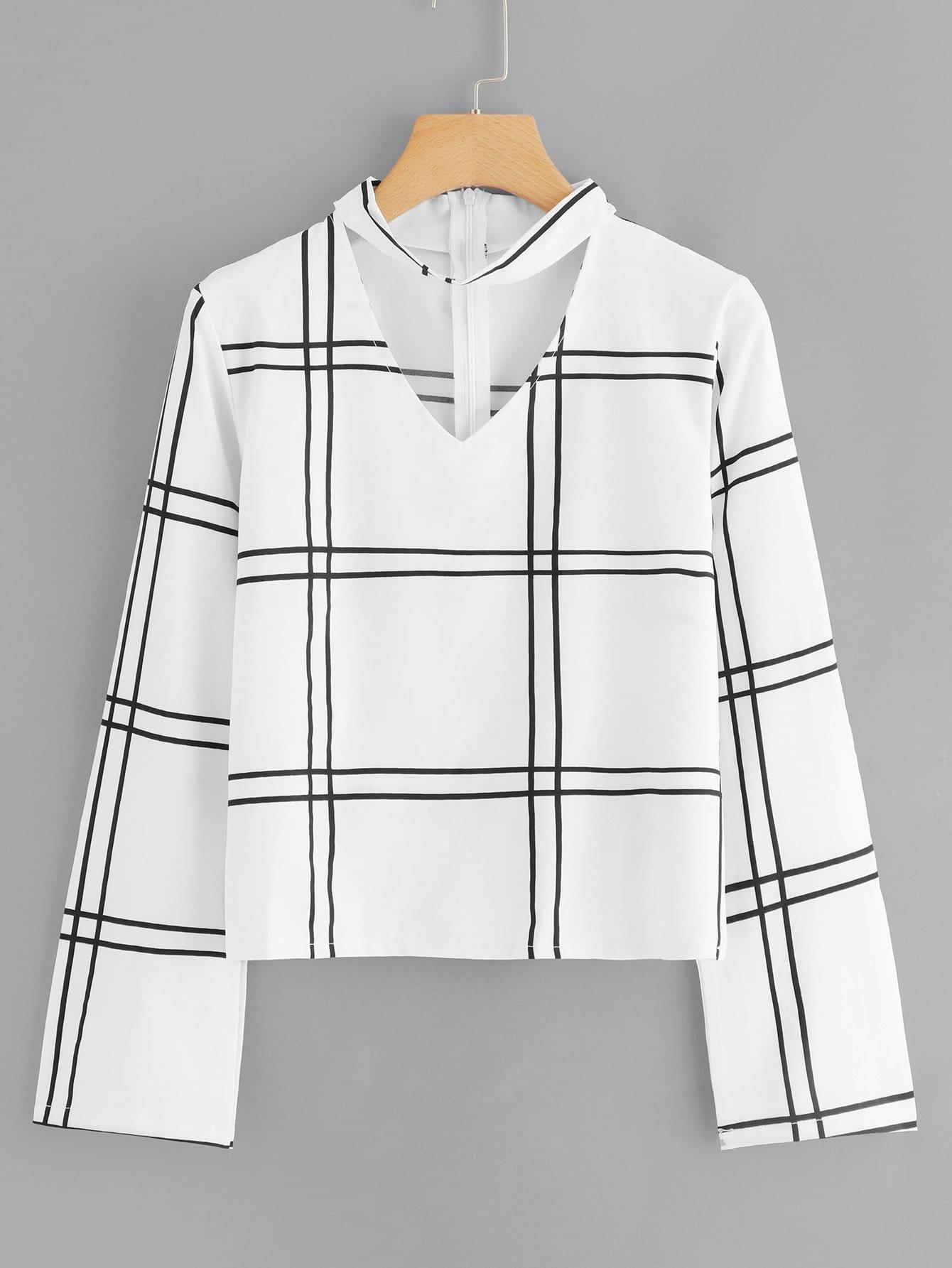 Bluse mit V Cut, Plaid und Reißverschluss hinten