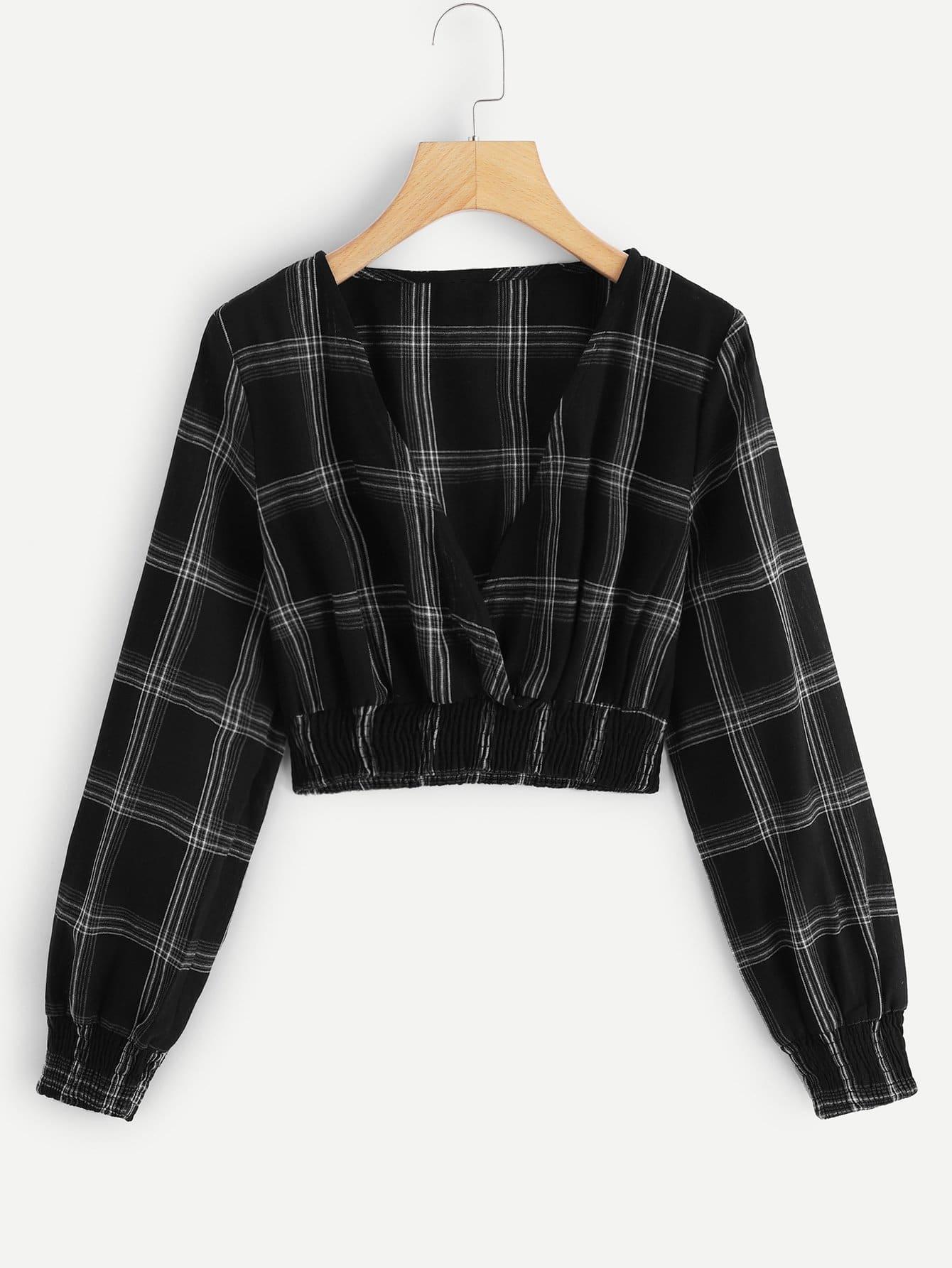 Crop Bluse mit tiefem V Ausschnitt und Plaid