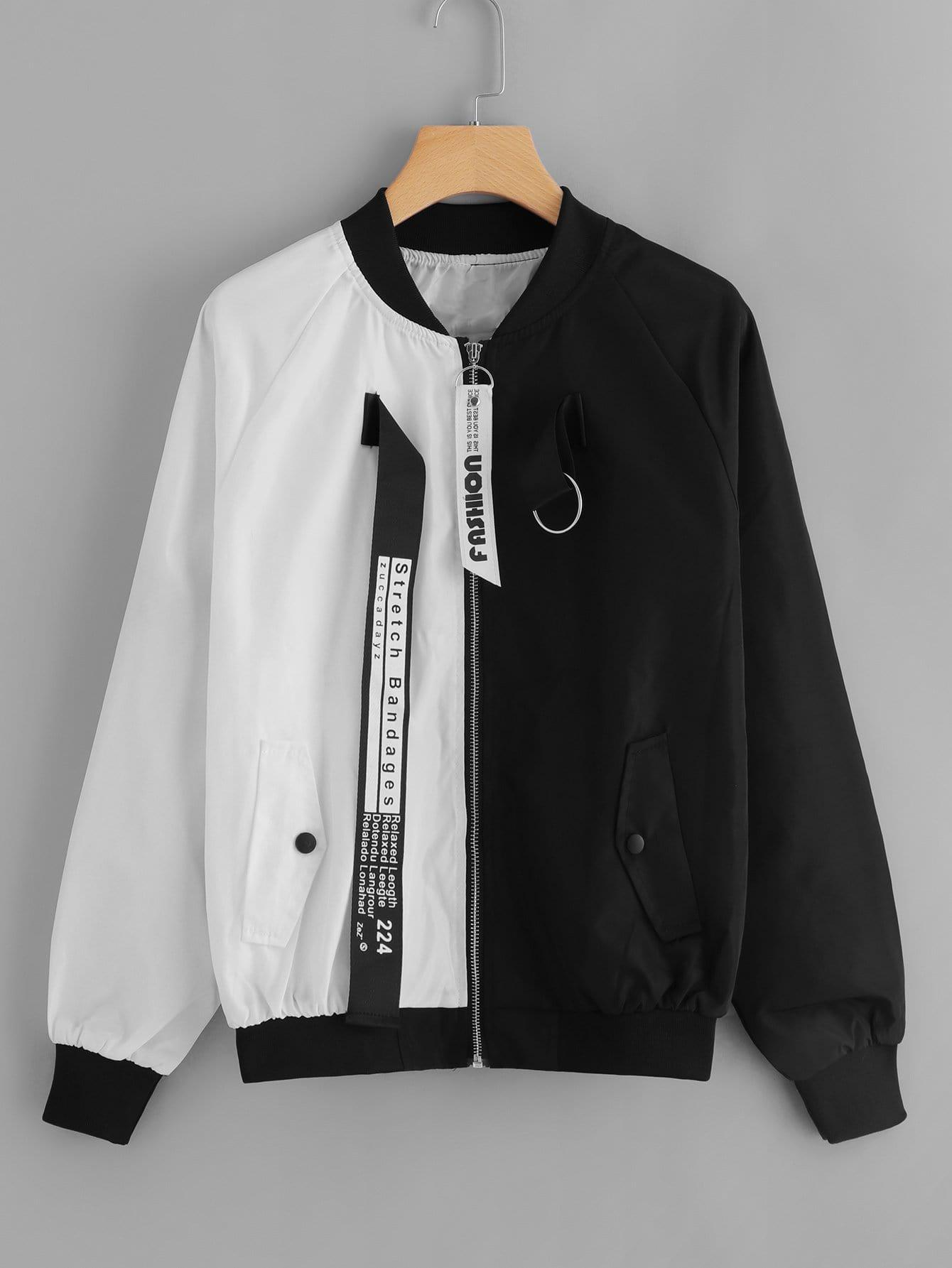 Letter Print Tape Zip Up Jacket