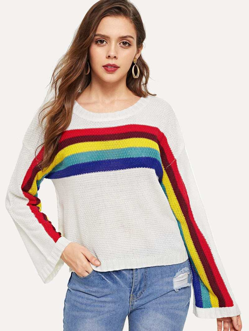 Rainbow Print Round Neck Jumper, Beige, Samilly K