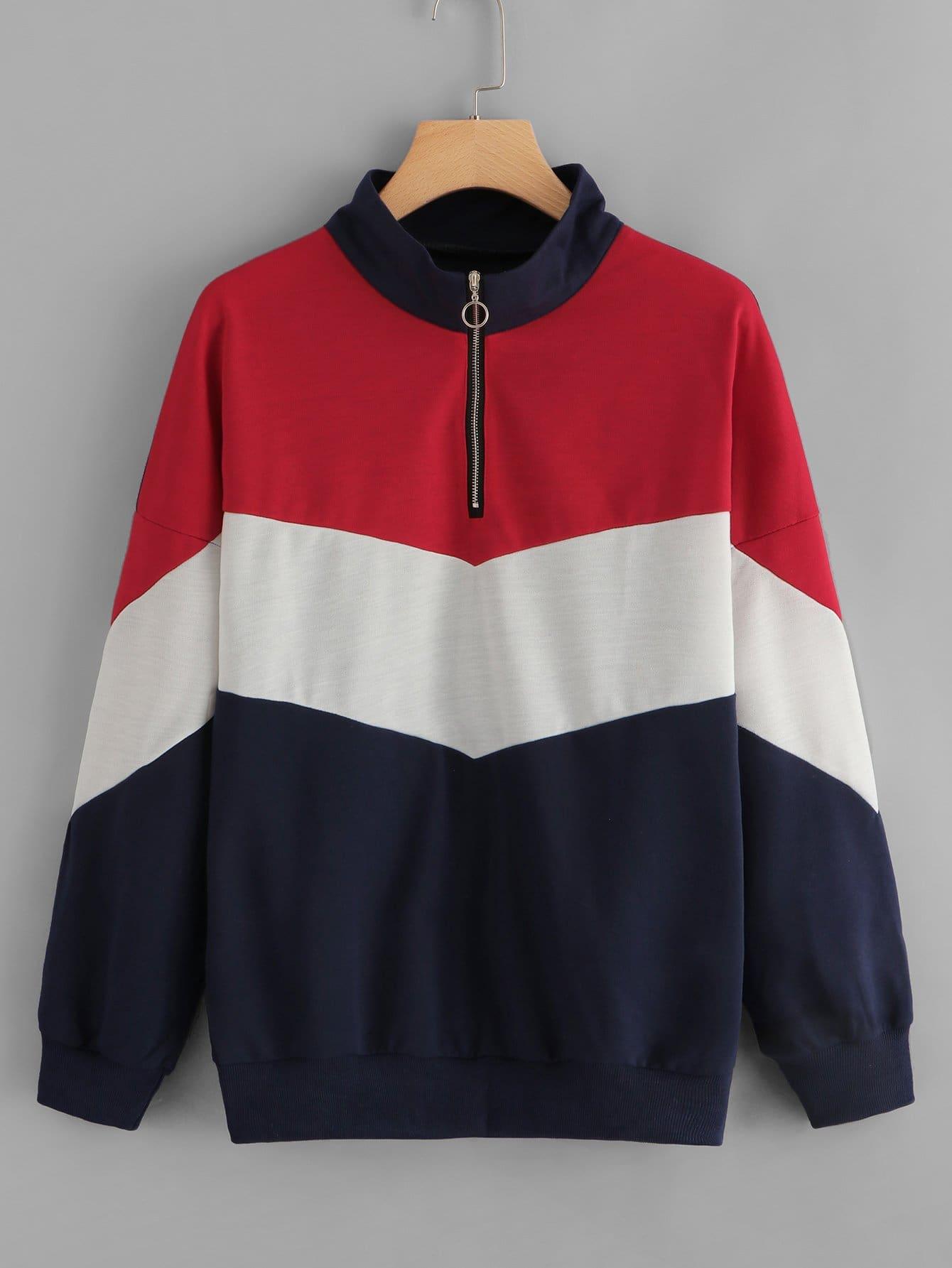 Zip Up Neck Colorblock Sweatshirt