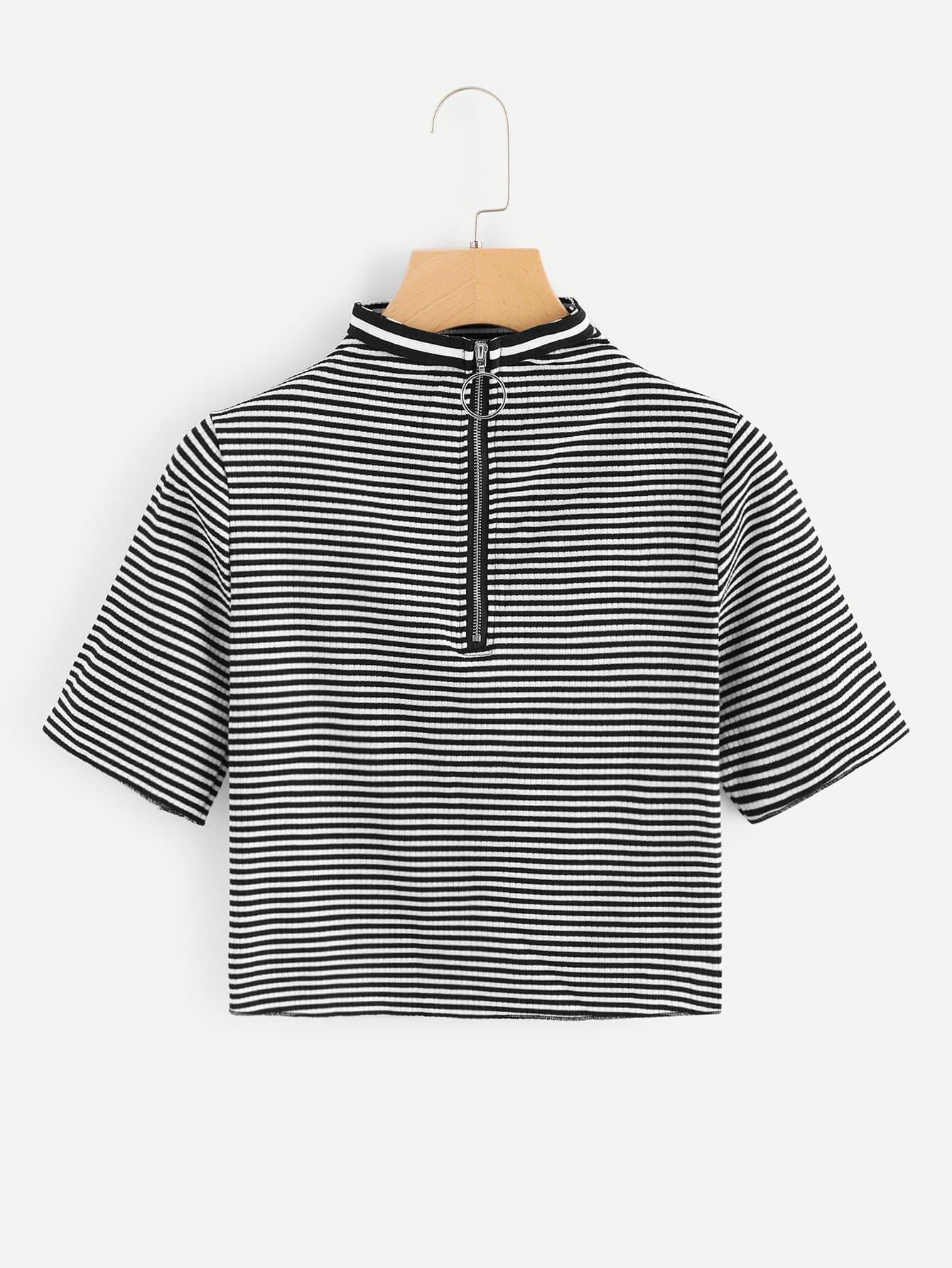 Striped Zip Up Neck Crop Tee