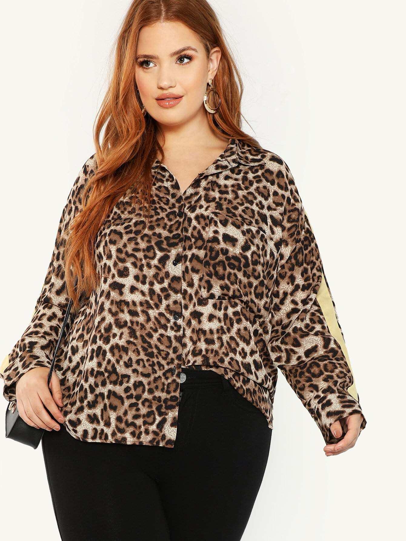 Купить Плюс размеры леопардовая блузка с карманом, Bree Kish, SheIn