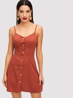 Crisscross Back Button Through Cami Dress