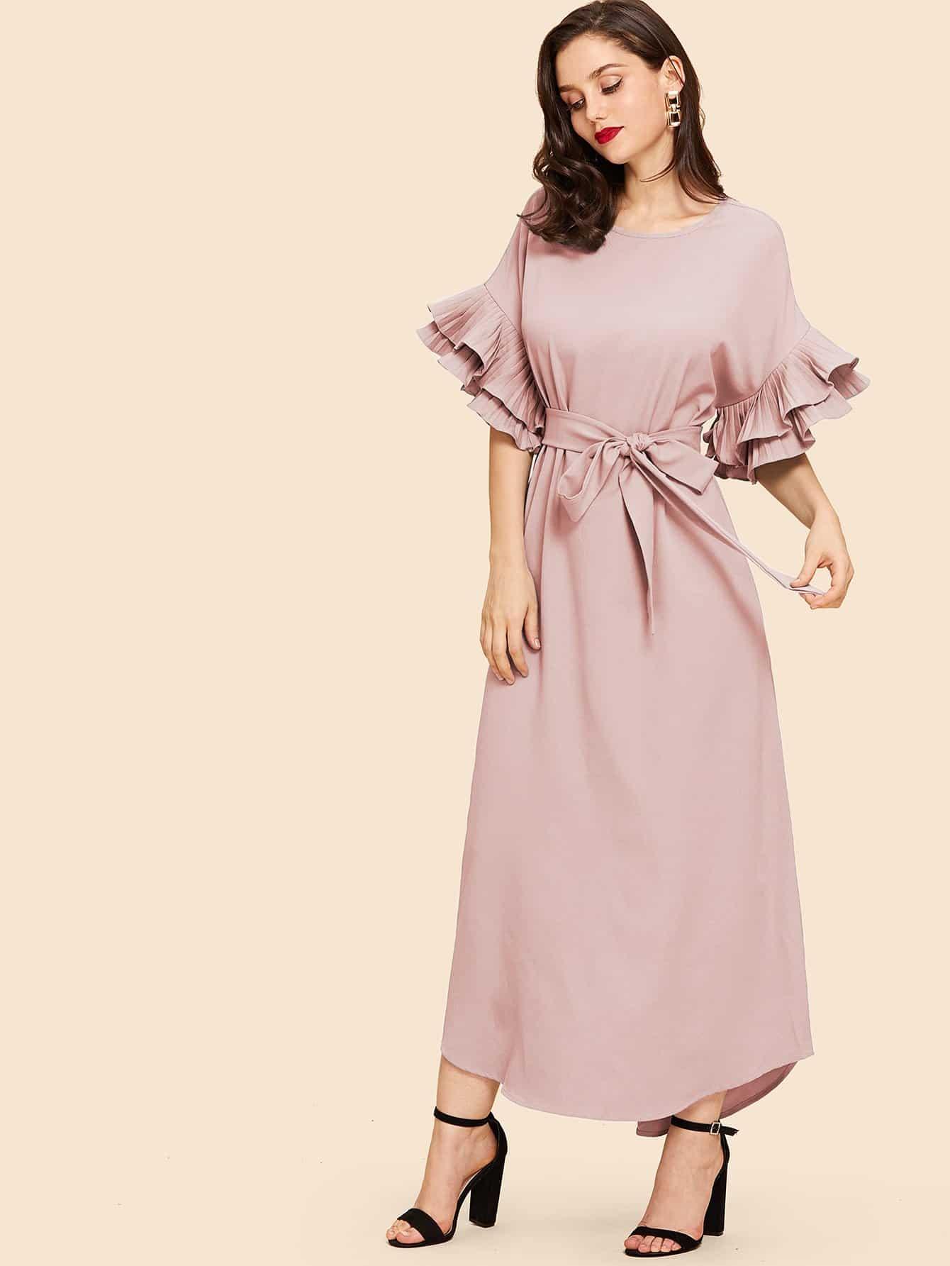 Купить С оборками рукавами платье с поясом и выгнутым подолом, Julie H., SheIn