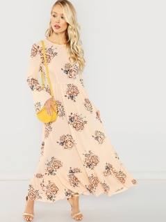 Ruffle Hem Bell Sleeve Floral Dress