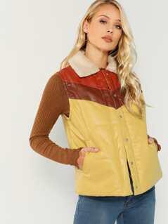 Fleece Collar Color Block Faux Leather Puffer Jacket