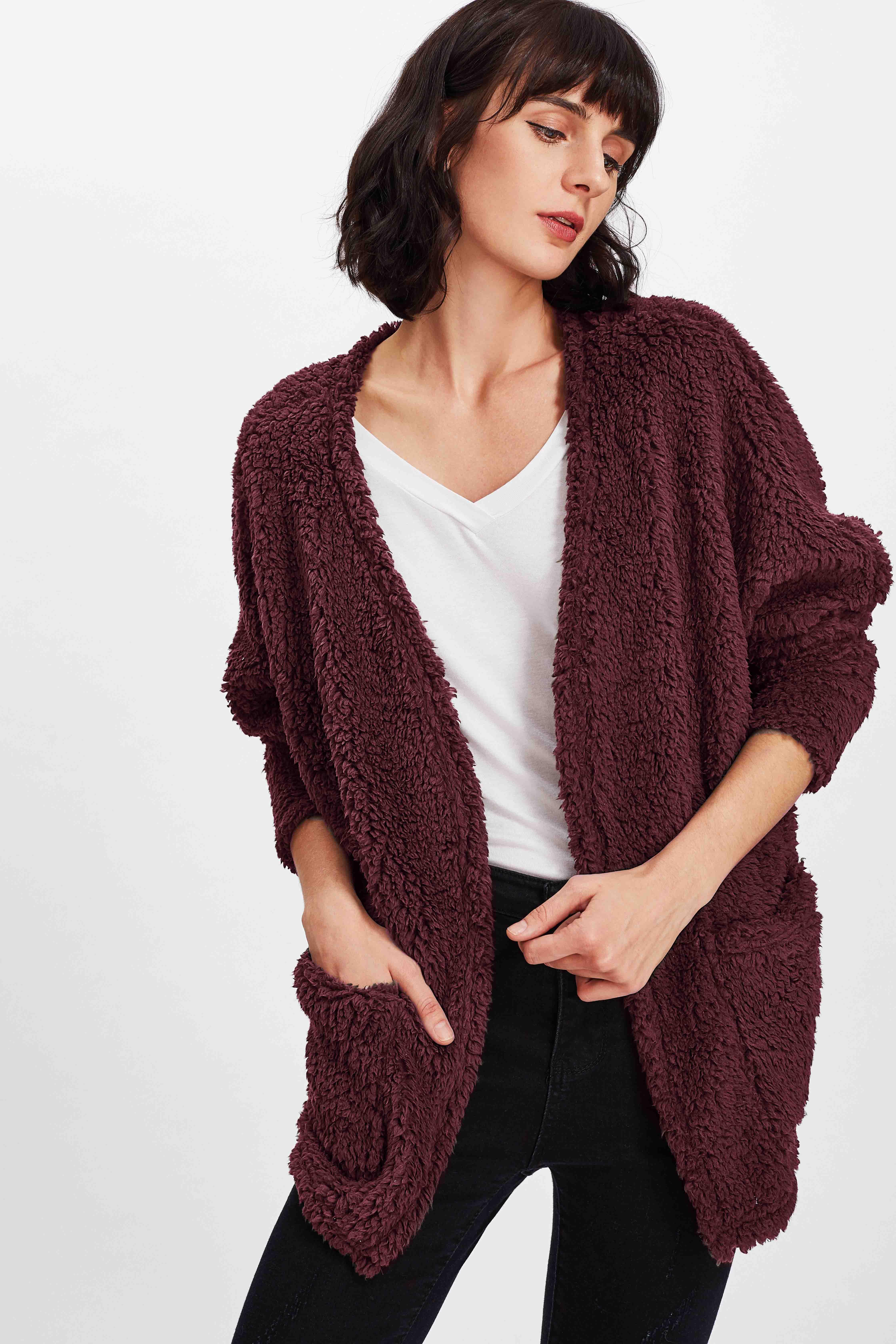 Купить Открытой передней тедди пальто из искусственного меха, Ksenia G, SheIn