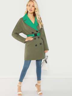 Double Breasted Self Belted Colorblock Coat