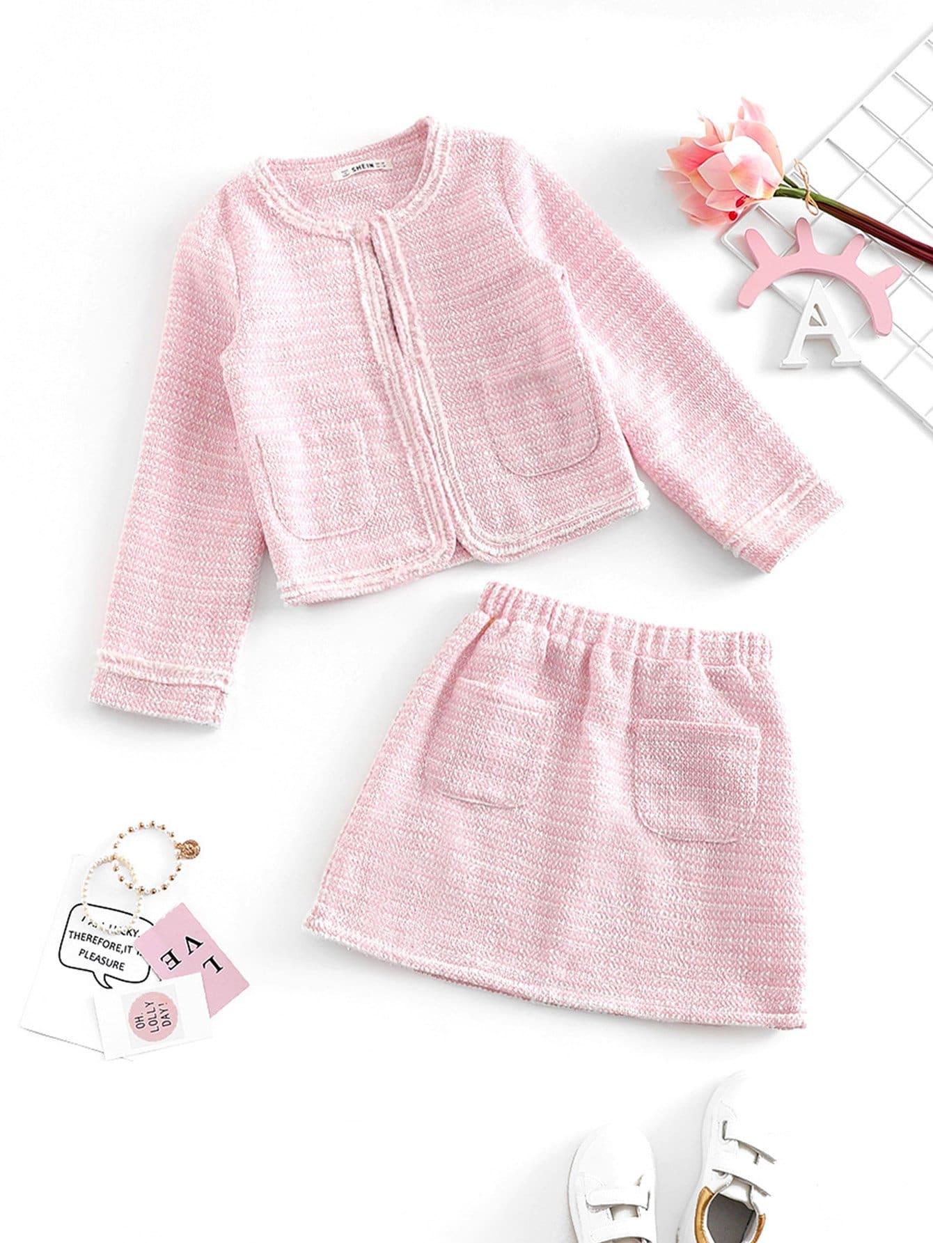 Купить Открытая блузка с карманами и юбка для девочки, null, SheIn