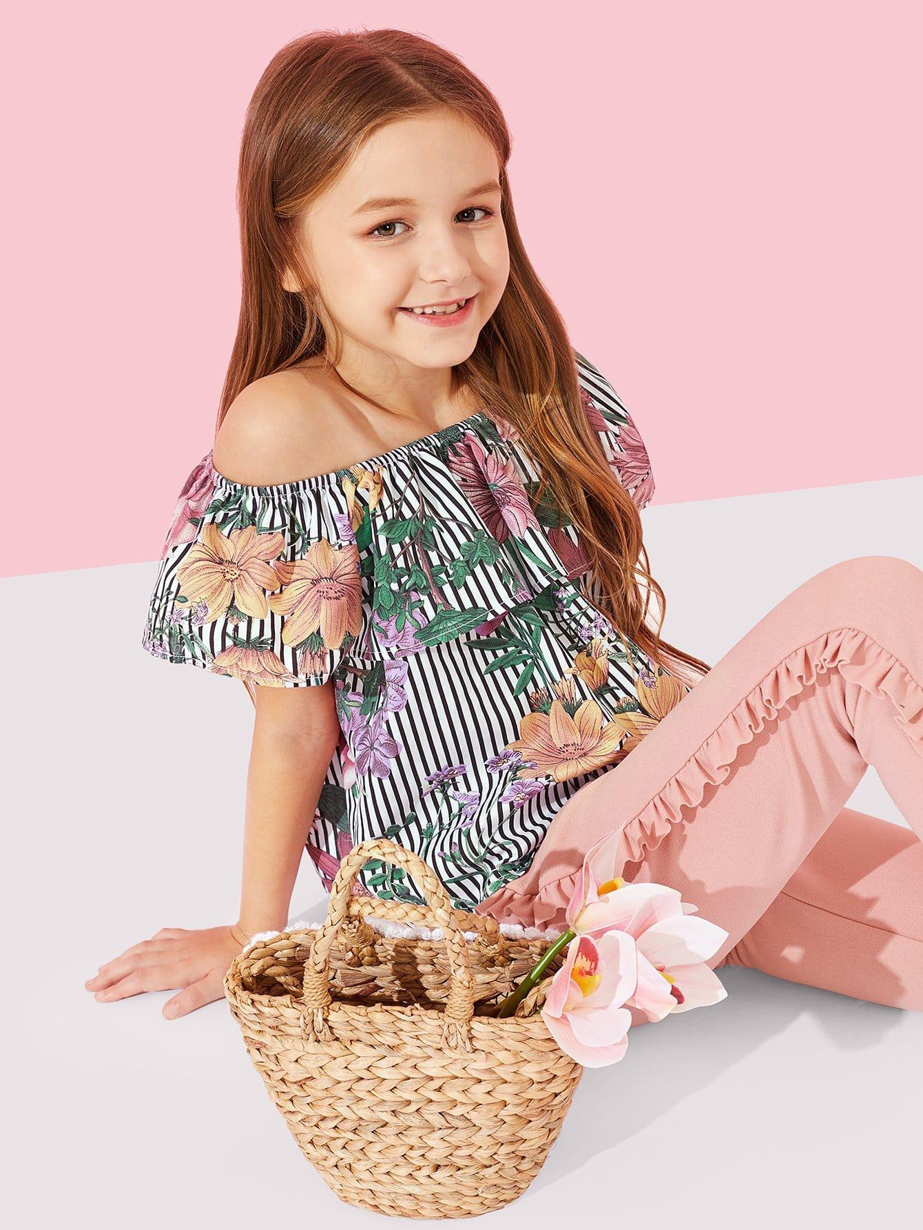 Купить Полосатая ситцевая блузка и брюки с розеткой для девочки, Sashab, SheIn