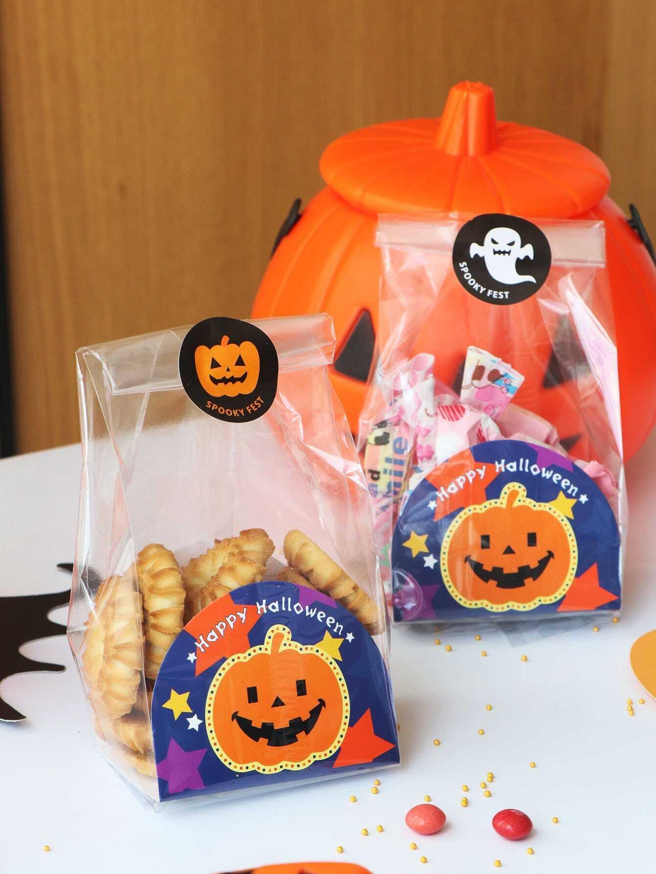 Купить Хэллоуин Clear Cookie Packaging Bag 10pcs, null, SheIn