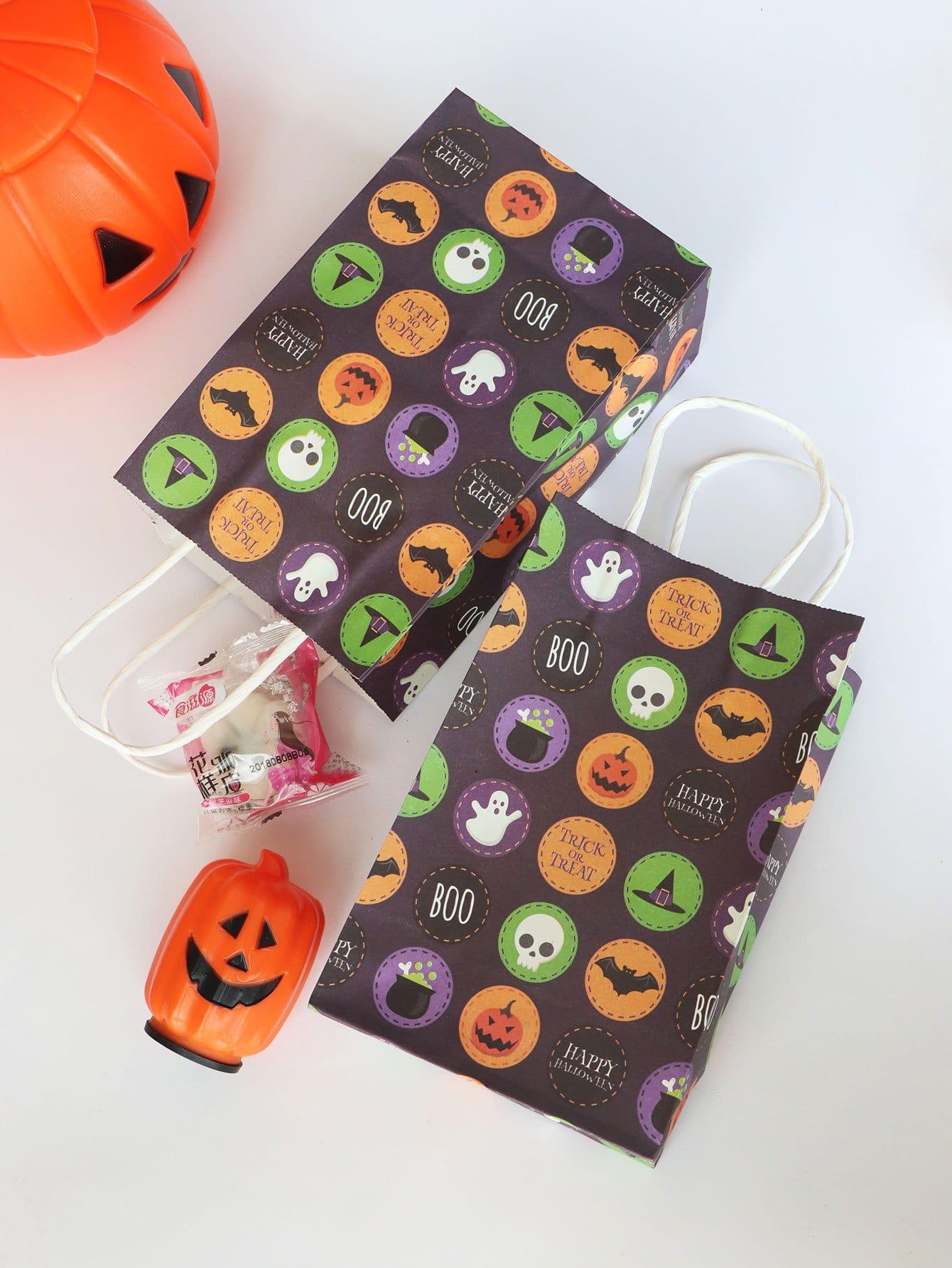 Купить Бумажный пакет с рисунком тыквенного фонаря Хэллоуин 5 шт, null, SheIn