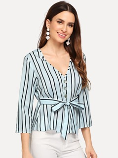 Button Front Belted Striped Peplum Top