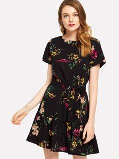 Ruffle Hem Botanical Dress