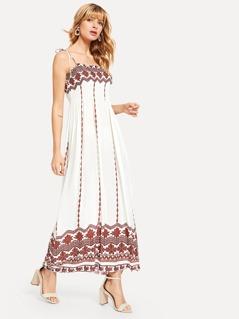 Geo Print Knot Slip Dress